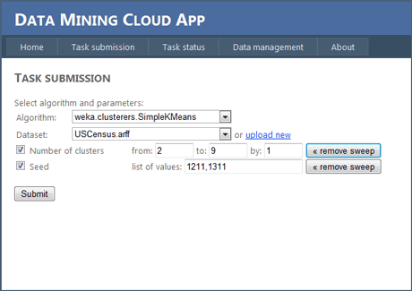 Figure 2: Data Mining Cloud App website: A screenshot from the task submission section.