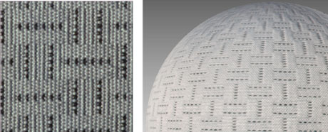 Figure 2: Detail of measured fabric material (left) and its large-scale mapping on a sphere (right).