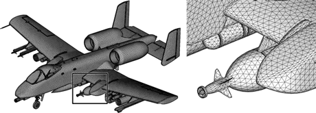 Figure 1: Mesh repair and adaptive re-meshing (data: Distene)