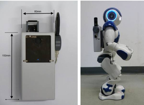 Figure 1: Prototype of LED projector unit (left) mounted on the humanoid NAO robot (right)