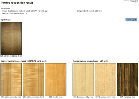Figure 1: Apple wood sample taken by a smartphone camera and the three closest query results using Markovian and LBP textural features.
