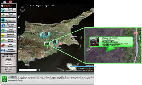 Figure 1: A snapshot of Social Electricity application showing a map of Cyprus with a user's friends appearing in green if their consumption is low and red if their consumption is relatively high.