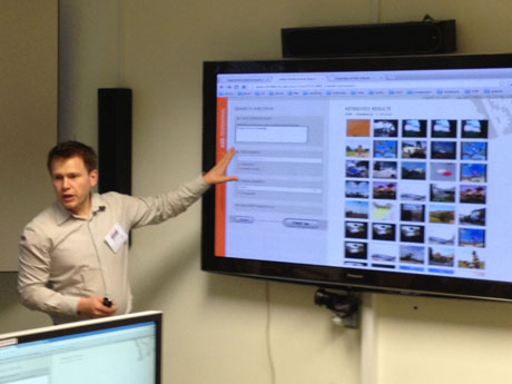 Robin Aly of University of Twente explains visual search during user trials.