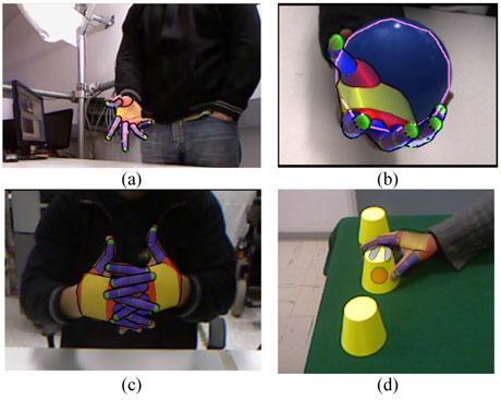 Figure 2: The framework developed has been employed to track (a) single hand (b) a hand interacting with an object (c) two strongly interacting hands and (d) the state of a complex scene where a hand interacts with several objects.