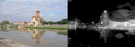 Figure 1: Left side: original image in the Pisa-Dataset. Right side: global saliency map computed by the visual attention model.