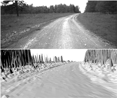 Figure 2: Top: camera image; bottom: map rendered from the camera's perspective.
