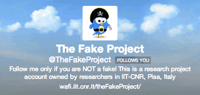 Figure 1: Screenshot of the Twitter account @TheFakeProject, used to launch the campaign for recruiting the real humans in a training dataset of Twitter accounts