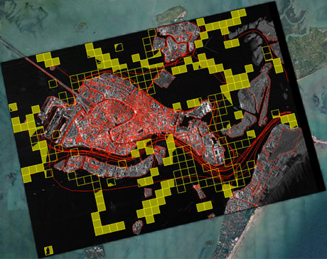 Figure 2: Buoys and water ways overlayed with a TerraSAR-X image using Sextant.