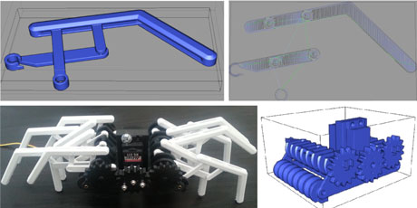 Figure2: A spider robot we designed with our software. Top left: An articulated leg designed to print as a single piece: no further assembly is required. Top right: The toolpath for plastic deposition on one layer, computed by our software. Bottom left: The final robot, entirely printed but for the servo motor and visible screws. Bottom right: The model of the body of the robot.