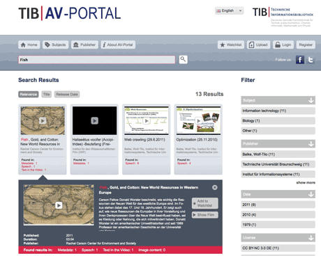 Figure 1: The AV-Portal of the German National Library of Science and Technology