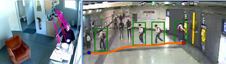 Figure 1: Extracted trajectories of  a person at home during the  preparation and eating of a meal (left )and people in a metro station while buying tickets (right).