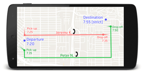 Figure 1: An example of the proposed carpooling system where Passenger X's usual departure and destination locations are indicated with the blue markers. Following a comparison process with drivers in the same location, two possible carpooling suggestions are identified (indicated by the red and green tracks).