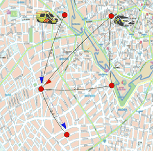 Figure 2: An example of a planned coordination generated by the system. In order for the ambulance to reach its destination in the least possible time (node e), a police car is dispatched in an intermediate location (node c).