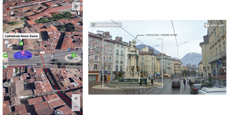Figure 1: Examples of user interfaces seen as part of the cultural-heritage visitor application developed for Grenoble which uses augmented reality tools.