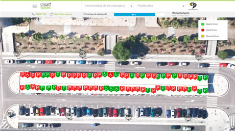 Figure 2: Real-time view of the occupancy status for each parking space in the campus parking lot