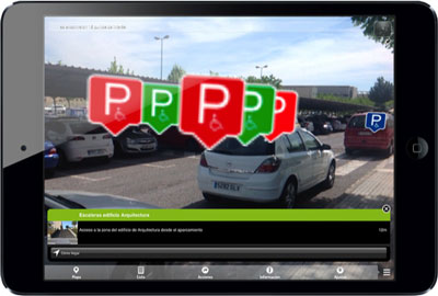 Figure 4: The augmented reality layer which provides users additional spatial context so that they can find the correct parking space.