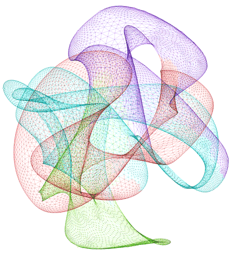 Figure 1: 4elt sparse graph, partitioned into 4 balanced components that are indicated by colors. Very few links are on the border of regions with different colors. For her achievement [1] Fatemeh Rahimian received the Best Paper Award at the 7th IEEE International Conference on Self-Adaptive and Self-Organizing Systems in Philadelphia in September 2013. Moreover, in May 2014 she obtained a doctoral degree that was partly based on this work.