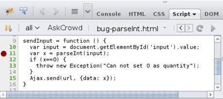 Figure 1: A screenshot of our prototype crowd-enhanced JavaScript debugger. The button 'AskCrowd' selects the snippet surrounding the breakpoint (Line 11: red circle). A list of selected answers that closely match the problem are then automatically retrieved from StackOverflow. In this case, the first result is the solution: the prefix has a meaning for parseInt which must be taken into account.