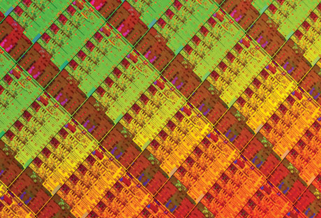 A chip processor wafer. Chip manufacturers are moving from single-processor chips to new architectures that utilise the same silicon real estate for a conglomerate of multiple independent processors known as multicores.